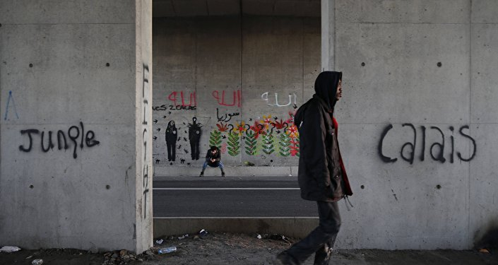 Migrants make their way along a road near graffiti with the words Jungle, Calais in Calais, France, October 20, 2015.