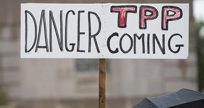 Demonstrators protest against the legislation to give US President Barack Obama fast-track authority to advance trade deals, including the Trans-Pacific Partnership (TPP)