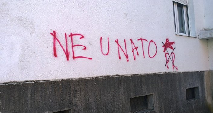 No to NATO graffiti in Montenegro