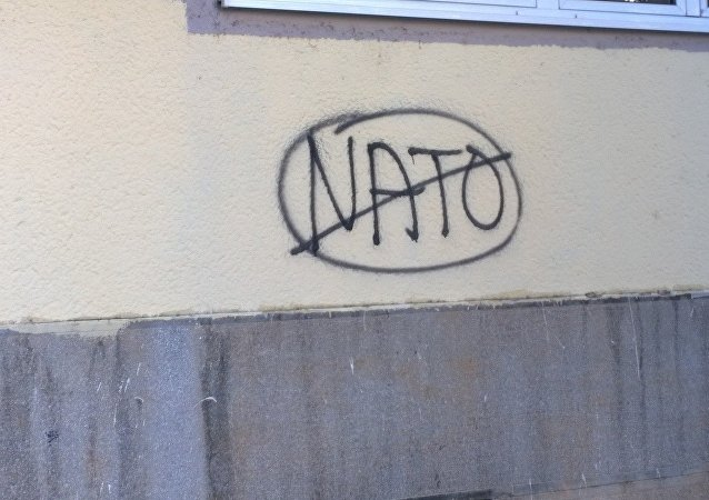 Anti-NATO graffiti in Montenegro