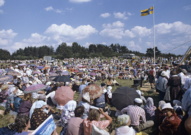 The feast of Ingrian Finns in the village of Koltushi