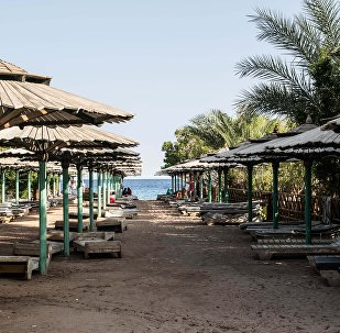 An empty public beach is seen in Namaa Bay, Sharm el-Sheikh.