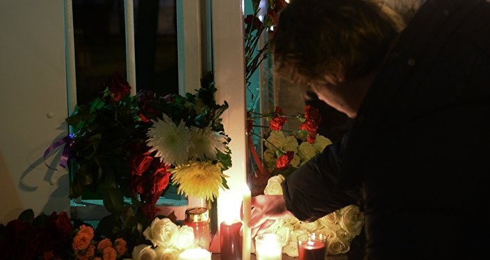 Flowers at French embassy in Moscow