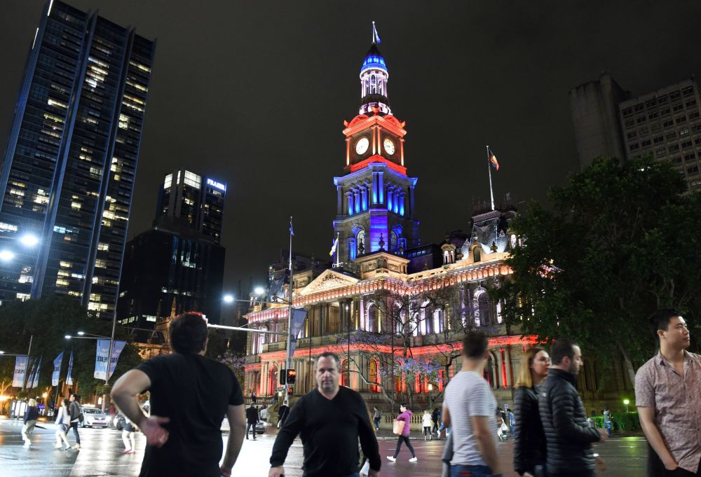 The Town Hall of Sydney, Australia, lit up in French national colors in remembrance of the victims of the November 13th Paris terror attacks. The famous Sydney Opera House was bathed in the French colors, as well.