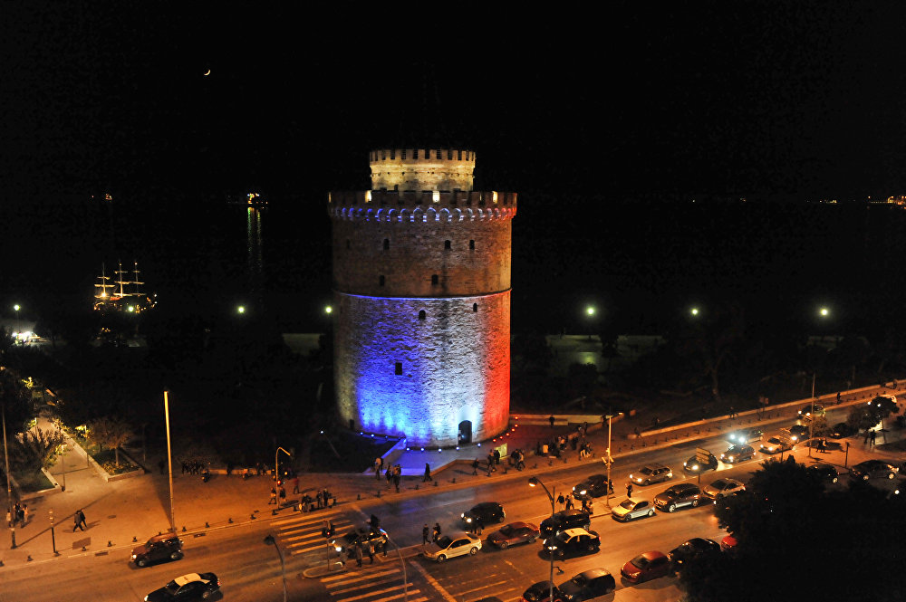 The White Tower, a symbol of the city of Thessaloniki, is lit up in the colors of the French national flag in remembrance of the victims of the November 13th terror attacks in Paris.