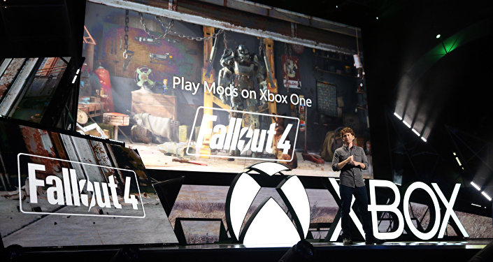Todd Howard, Game Director, Bethesda Game Studios, demonstrates Fallout 4 at the Xbox E3 2015 Briefing on Monday, June 15, 2015 in Los Angeles.