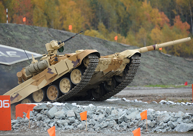 A T-90S tank, the export version of T-90, at the Ninth International Exhibition of Arms, Military Equipment and Ammunition Russia Arms Expo 2013 in Nizhny Tagil