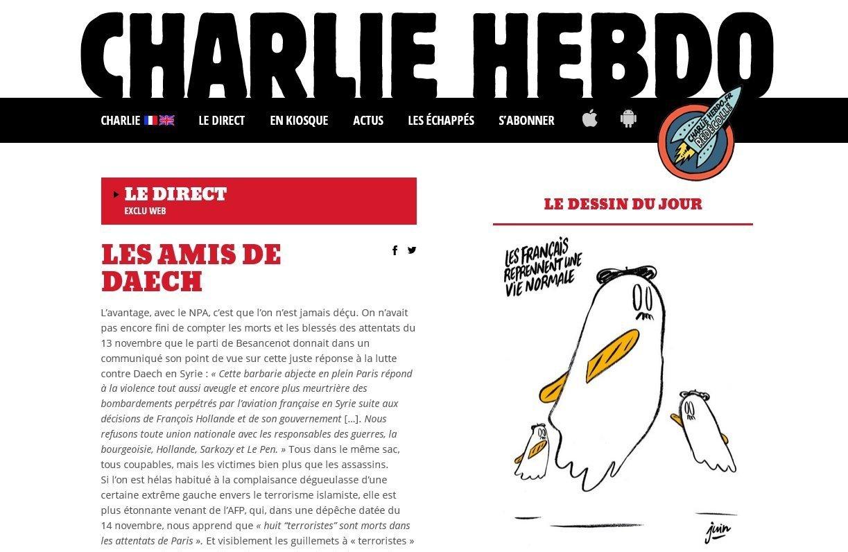 Screenshot of the Charlie Hebdo website