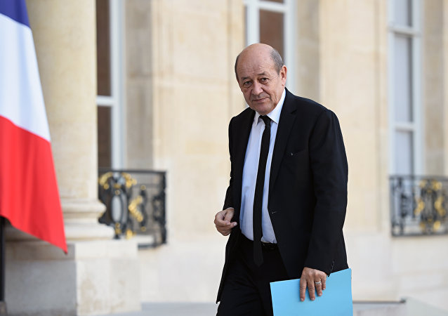 French Defence minister Jean-Yves Le Drian arrives for a meeting on November 15, 2015 at the Elysee Presidential Palace in Paris