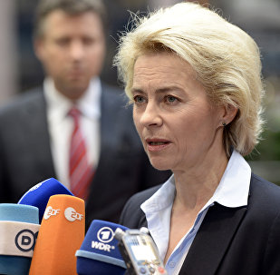 German Minister of Defence Ursula von der Leyen talks to journalists prior to the start of an European Union Defence Ministers' meeting at the EU Council in Brussels on November 17, 2015