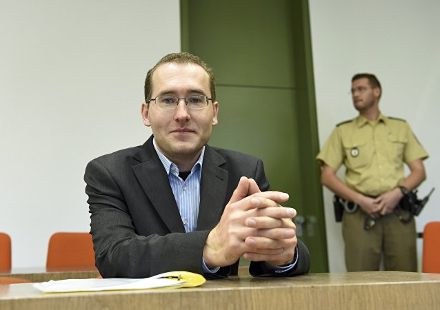 Defendant Markus R, a former employee of Germany's foreign intelligence agency (BND) arrives for his trial for espionage in a courtroom in Munich, Germany, November 16, 2015.