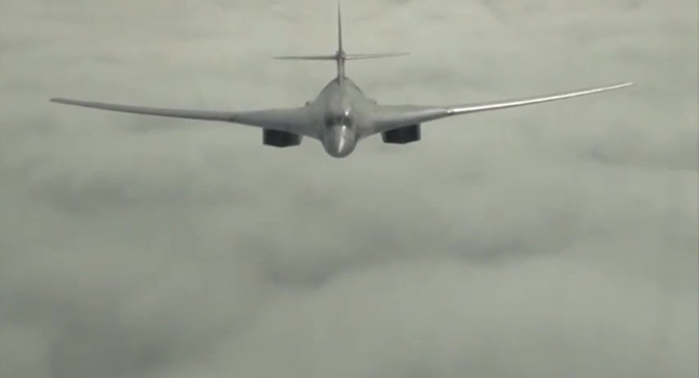 A Russian Tupolev 160 long-range bomber during a mission to launch an air strike on the Islamic State infrastructure in Syria