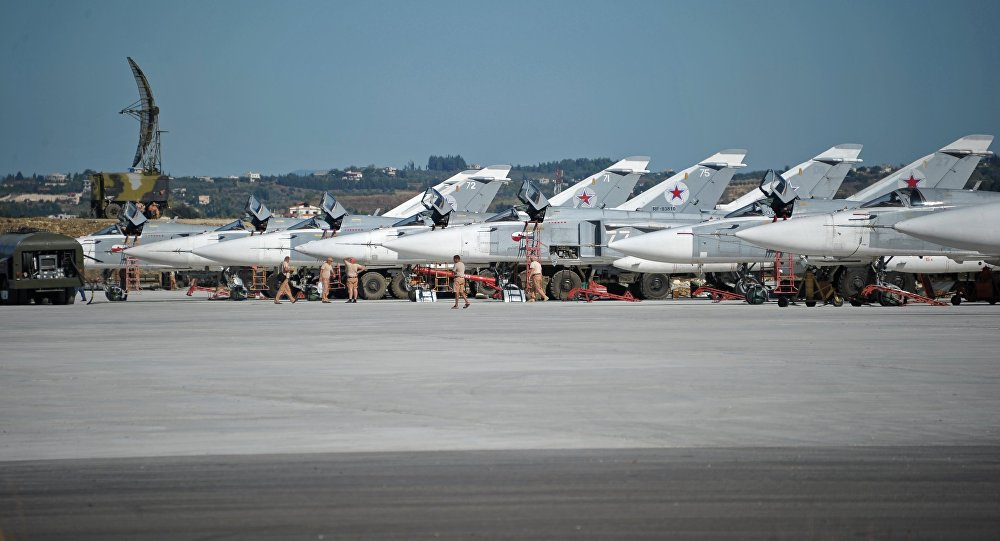 Su-24 bombers of the Russian Aerospace Defense Forces parked at the Khmeymim Air Base in Latakia, Syria.