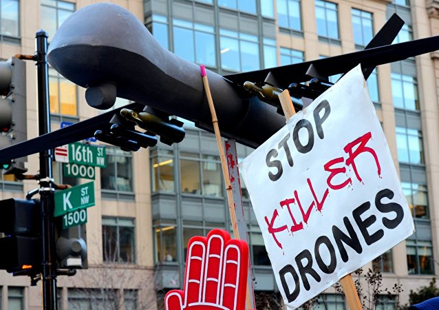 A protest against drone strikes