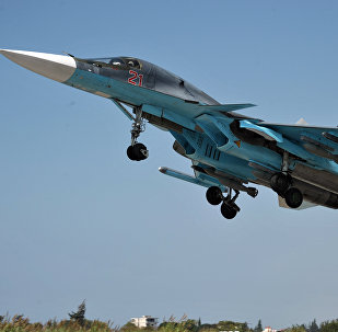 A Su-34 fighter-bomber equipped with the Khibiny system takes off from the Hmeymim Air Base in the Syrian province of Latakia. File photo