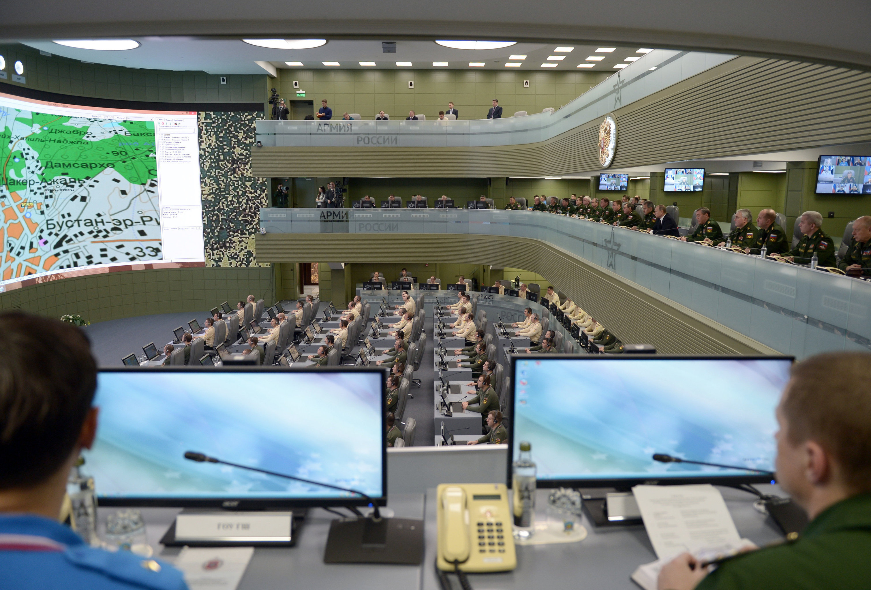 President Vladimir Putin tours the National Defense Control Center