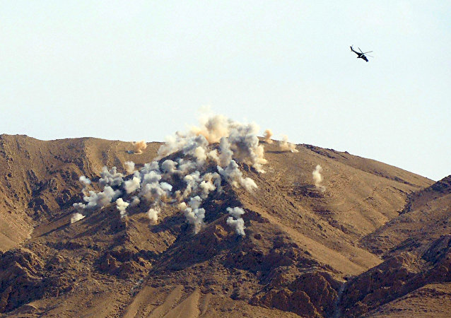 Russian helicopters Mi-24p airstrike the terrorists' positions 20 km outside Palmyra