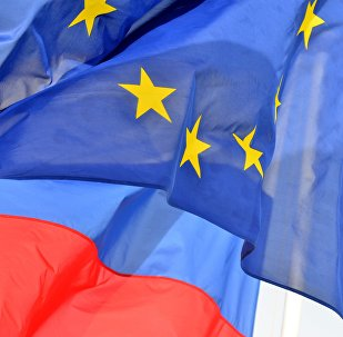 Flags of Russia and EU