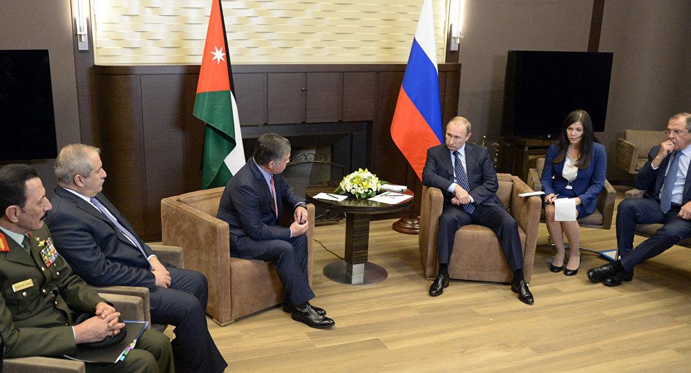 Russian President Vladimir Putin meets with King Abdullah II of Jordan