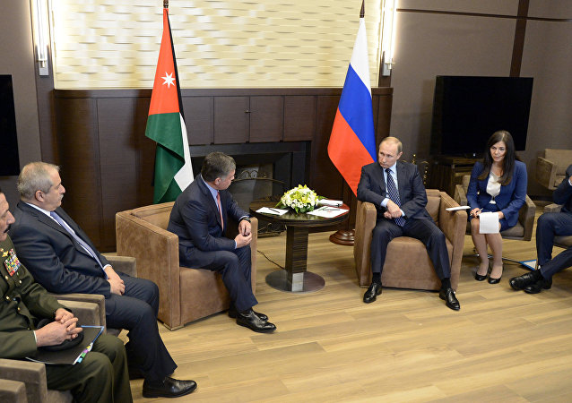 Russian President Vladimir Putin meets with King Abdullah II of Jordan