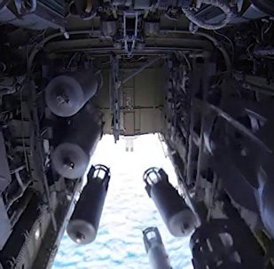 The bomb-door of the Tu-22 M3 missile-carrying bomber, the Russian aerospace forces, on its operational mission to deliver air strikes at ISIS targets in Syria