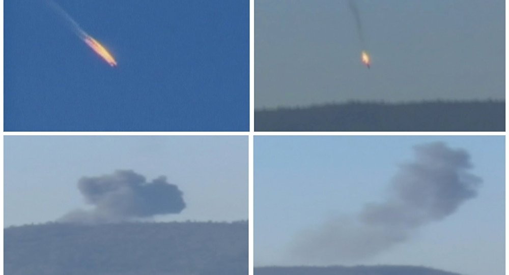 A combination picture taken from video shows a war plane crashing in flames in a mountainous area in northern Syria after it was shot down by Turkish fighter jets near the Turkish-Syrian border November 24, 2015
