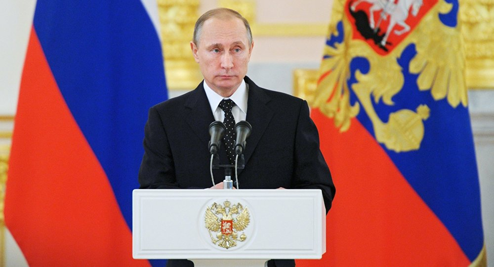 Russian President Vladimir Putin at a ceremony to receive credentials from ambassadors of 15 countries in the Alexander Hall of the Grand Kremlin Palace