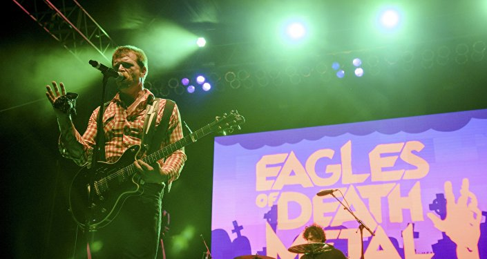 Jesse Hughes of the rock band Eagles of Death Metal performs with drummer Joey Castillo (R) at Festival Supreme at Shrine Auditorium in Los Angeles, California in this picture taken October 25, 2014.