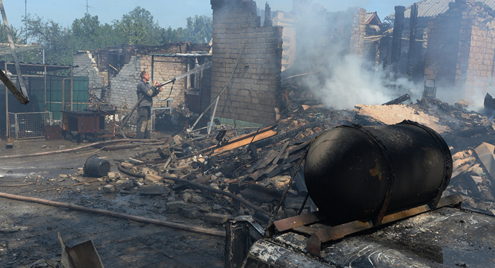 Private houses destroyed during an artillery attack by the Ukrainian army