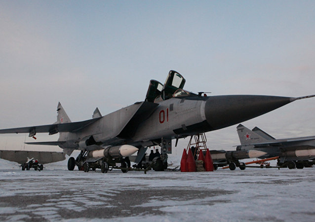 Interceptor fighter MiG-31BM at the airbase in Kansk