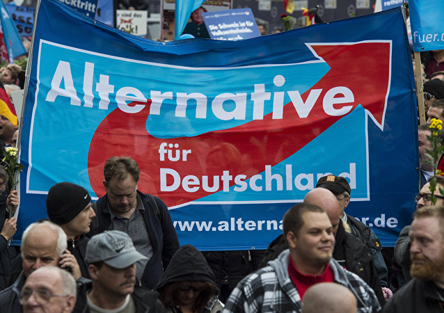 Supporters of the right-wing populist Alternative for Germany (AfD) party display an AfD banner during a demonstration by AfD supporters in Berlin on November 7, 2015