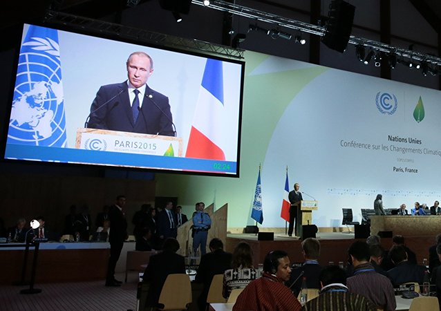 Russian President Vladimir Putin speaking at the 2015 Paris Climate Conference