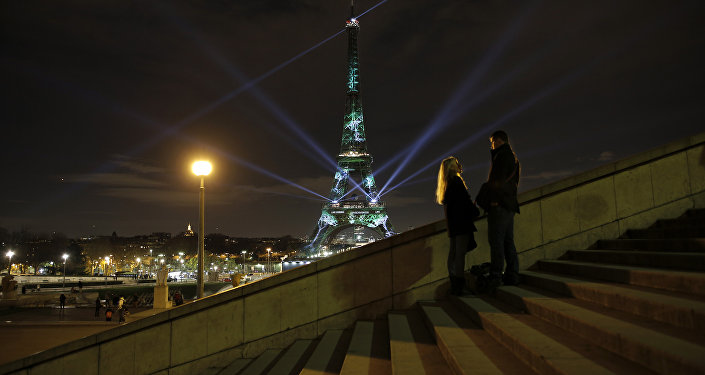 A couple stand on the stairs as an artwork entitled 'One Heart One Tree' by artist Naziha Mestaoui is displayed on the Eiffel tower as part of the COP21, United Nations Climate Change Conference.