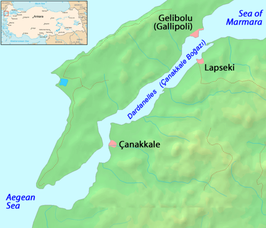 The Dardanelles. The video showing the tense moment between the Yauza and the Turkish sub was shot from the Turkish city of Canakkale.