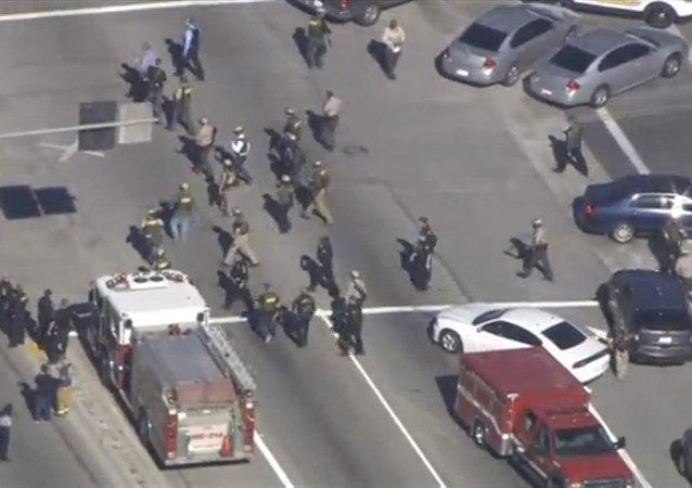 First responders at a scene of shooting in San Bernardino California