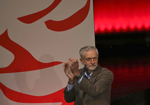 Jeremy Corbyn takes part in the Labour party leadership final debate at the Sage in Gateshead, England, Thursday, Sept. 3, 2015.