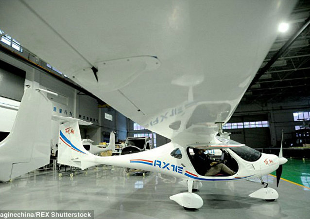 The RX1E, a battery-operated plane designed by Shenyang Aerospace University and Liaoning General Aviation Academy of China.