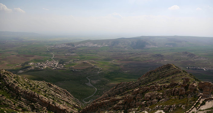 View of the Mar Matti monastery in the Christian town of Bashiqa, north of Mosul, northern Iraq
