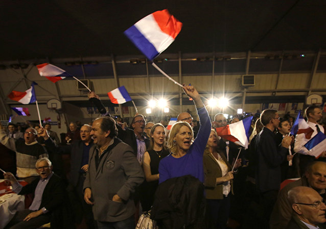 Supporters of far right National Front party regional leader for southeastern France, Marion Marechal-Le Pen, wave flags at a meeting after the results of the first round of the regional elections, in Carpentras, southern France