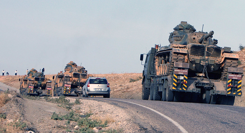 Tanks of the Turkish army at the Turkey-Iraq border . (File)