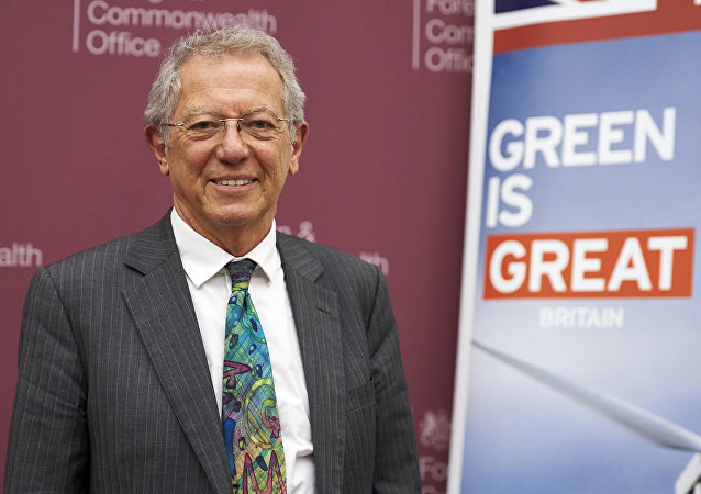 Sir David King, the Foreign Secretary's Special Representative for Climate Change poses after a briefing at the Foreign and Commonwealth Office in London on November 17, 2015