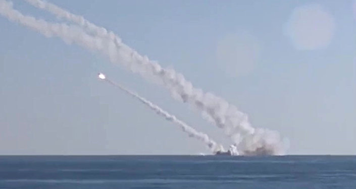 Rostov-on-Don submarine launches 3M-54 Kalibr (Klub) anti-ship missiles
