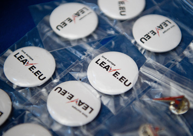 Campaign merchandise is on display at a stall before a press briefing by the Leave.EU campaign group in central London on November 18, 2015.