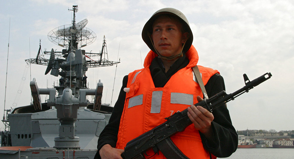 A serviceman of the Smetlivy anti-submarine ship of Russia's Black Sea Fleet