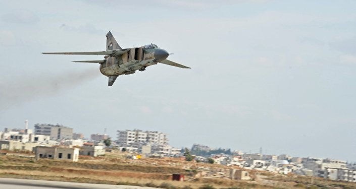 A MiG-23 aircraft of the Syrian Air Force lands at the Hama airbase near the city of Hama, Syria's Hama Province