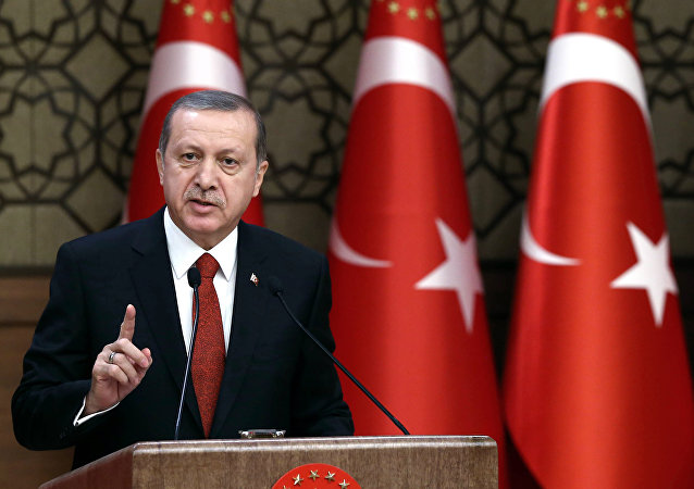 Turkey's President Recep Tayyip Erdogan addresses a meeting in Ankara, Turkey.