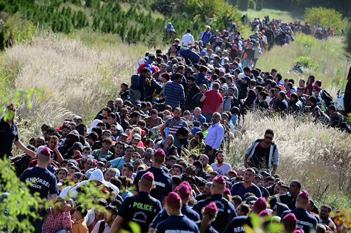 Directed by Hungarian police officers, migrants make their way through the countryside after they crossed the Hungarian-Croatian border near the village of Zakany in Hungary to continue their trip north on September 21, 2015.
