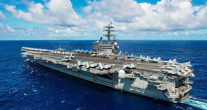 The aircraft carrier USS Ronald Reagan