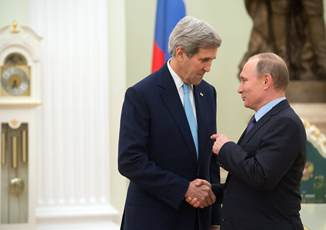 President Vladimir Putin meets with US Secretary of State John Kerry