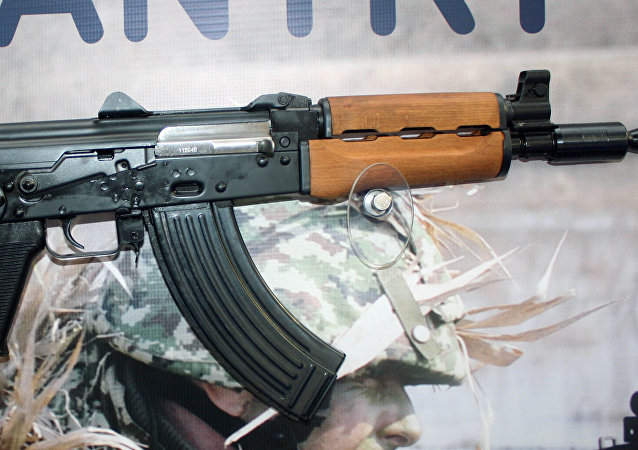 Zastava M92 semi automatic rifle on display at Partner 2011 military fair.